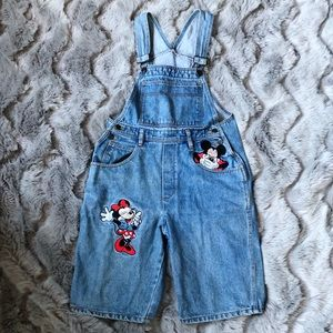 Vintage Mickey & Minnie Bib Overall Shorts Large